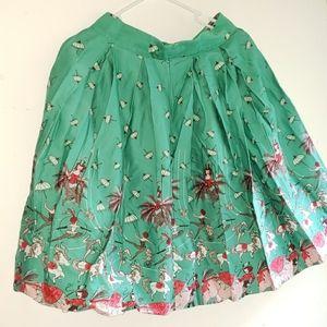 Turquoise & Pink- •Handmade•   Retro Pleated Skirt